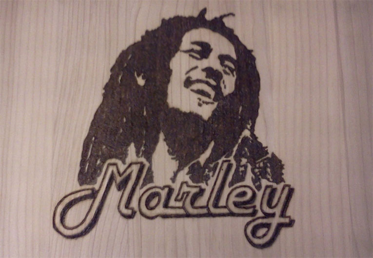 Bob Marley Wall Plaque - Pyrography by Artist Justin Beck