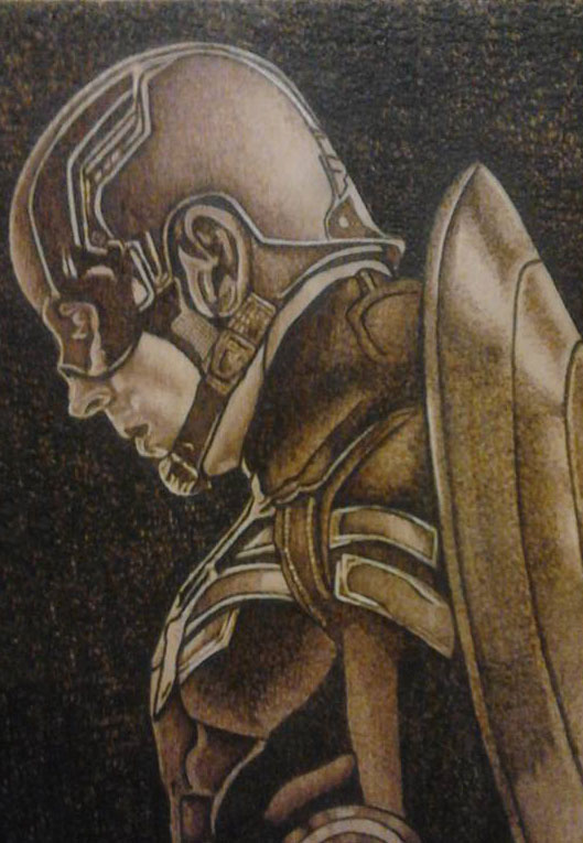 Captain America  - Pyrography by Artist Justin Beck