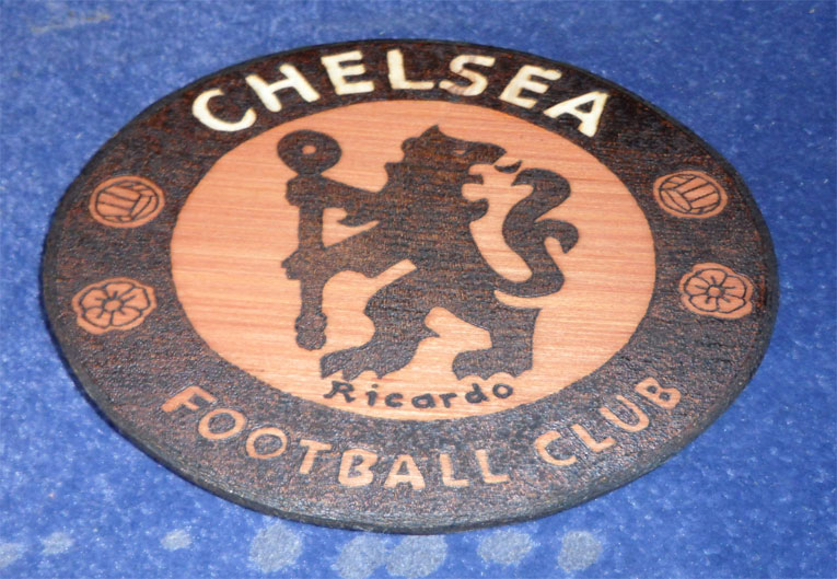 Chelsea Pyrography Football Crest - Pyrography by Artist Justin Beck