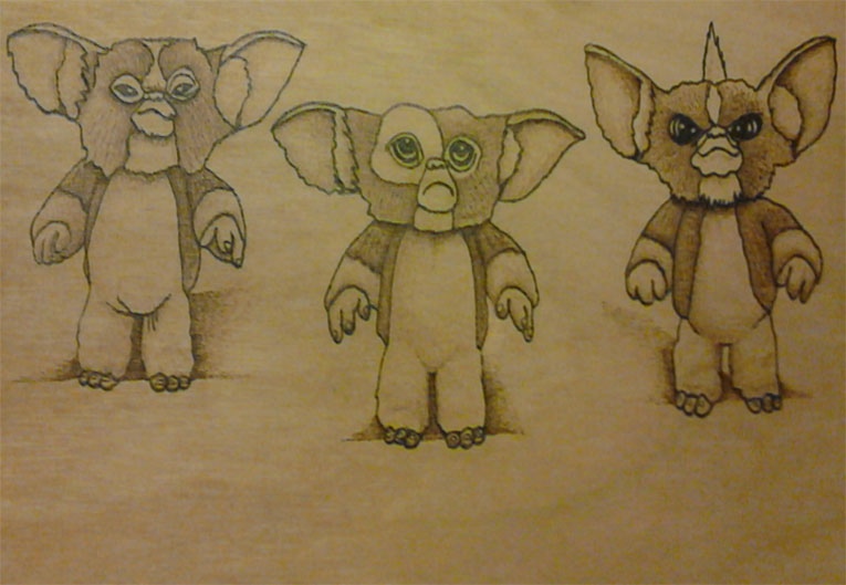 Gremlins, Gizmo, Stripe and Haskins  - Pyrography by Artist Justin Beck