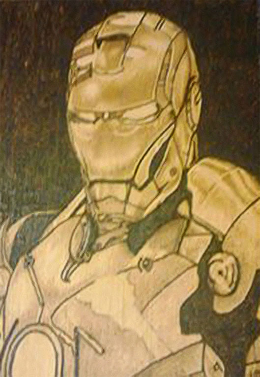 Ironman  - Pyrography by Artist Justin Beck