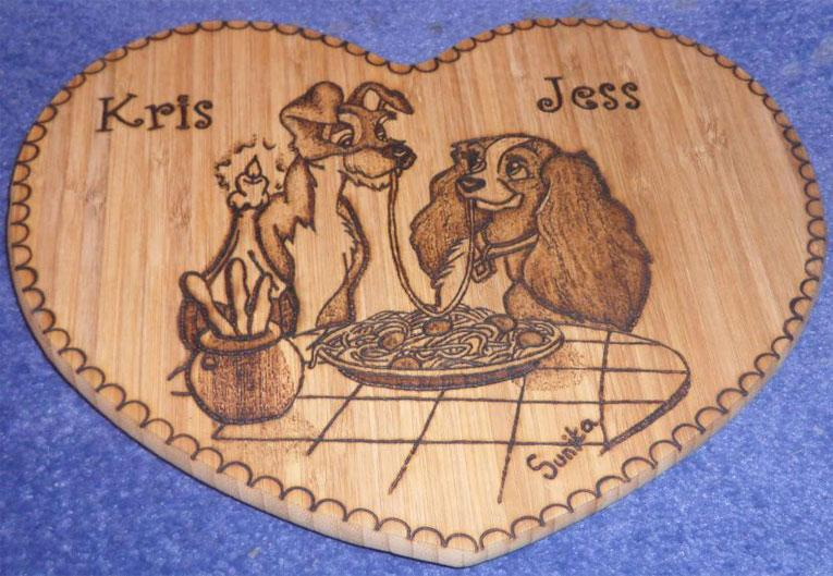 Lady and the Tramp Heart Plaque - Pyrography by Artist Justin Beck