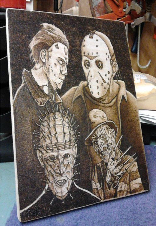Michael, Jason, Pinhead and Freddy  - Pyrography by Artist Justin Beck