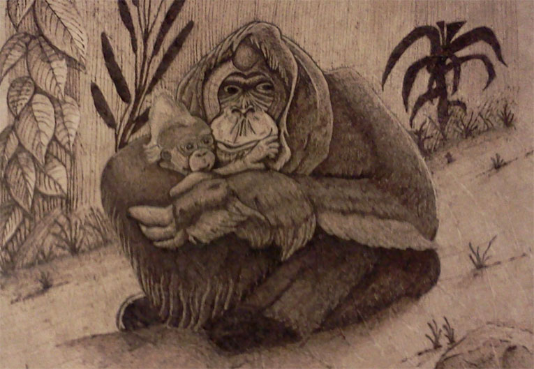 Mothers Love  - Pyrography by Artist Justin Beck
