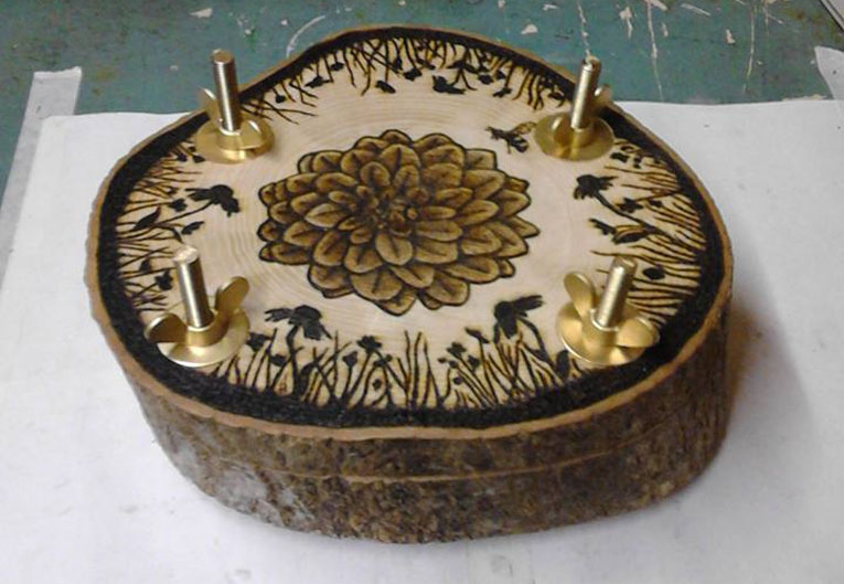 Pyrographed Flower-Press - Pyrography by Artist Justin Beck