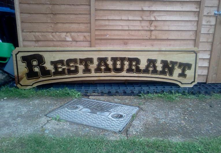 Restaurant Sign - Pyrography by Artist Justin Beck