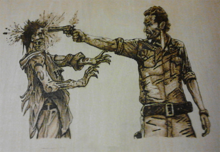 Sheriff Rick Grimes Blasting a Zombie - Pyrography by Artist Justin Beck