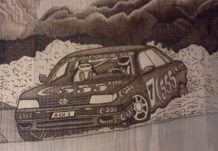 Subaru Legacy Wall Plaque - Pyrography by Artist Justin Beck