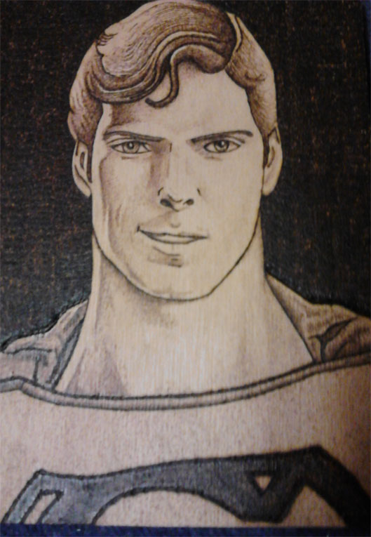 Superman  - Pyrography by Artist Justin Beck