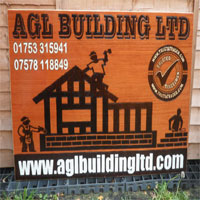 A.G.L Building Ltd Pyrography Sign