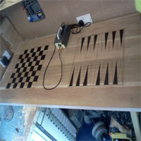 Chess and Backgammon games table Pyrographed/Burned and Carved