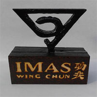 I.M.A.S. Wing Chun, Burned and Carved, Wooden 3d Paperweight