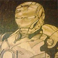 Ironman, Fan Art, A5, Pyrography Burned, Beech Faced Plywood.