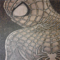 Spiderman Fan Art, A5, Pyrography, Burned Beech Faced Plywood.