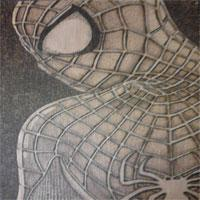 Spiderman, pyrography, Justin Beck